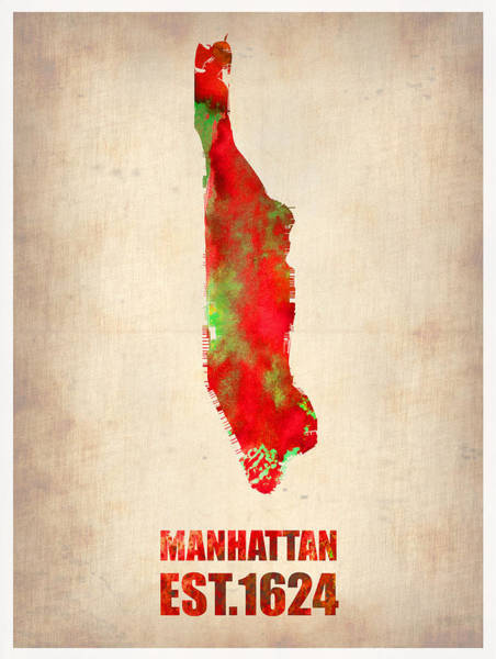 Wall Art - Painting - Manhattan Watercolor Map by Naxart Studio