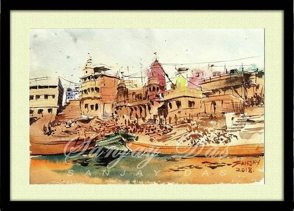 Manikarnika Ghat Varanasi Art Print