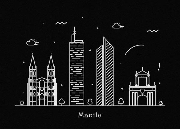 Wall Art - Drawing - Manila Skyline Travel Poster by Inspirowl Design