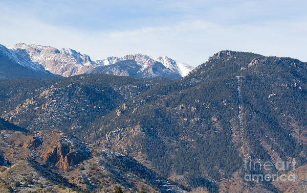 Photograph - Manitou Incline And East Face Of Pikes Peak In Winter by Steve Krull