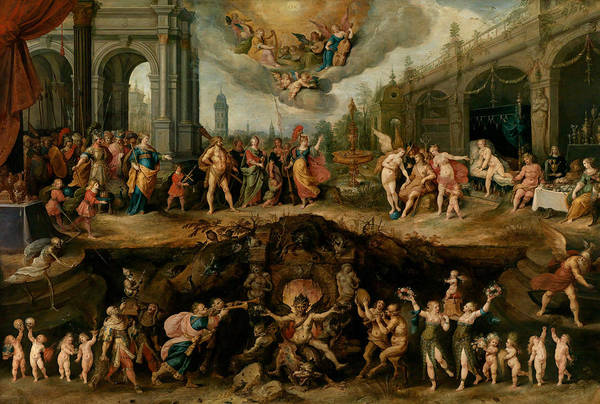 Hells Angels Wall Art - Painting - Mankind's Eternal Dilemma, The Choice Between Virtue And Vice by Frans Francken the Younger
