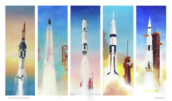 Painting - Manned Nasa Booster Rockets Of The 1960's by Douglas Castleman