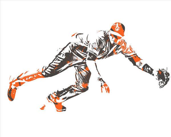 Orioles Wall Art - Mixed Media - Manny Machado Baltimore Orioles Pixel Art 10 by Joe Hamilton