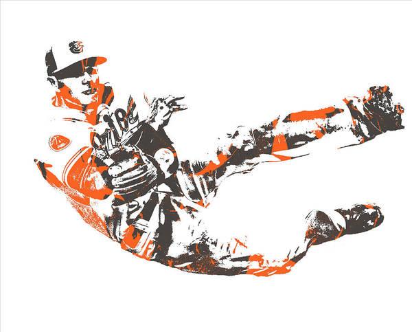 Orioles Wall Art - Mixed Media - Manny Machado Baltimore Orioles Pixel Art 11 by Joe Hamilton