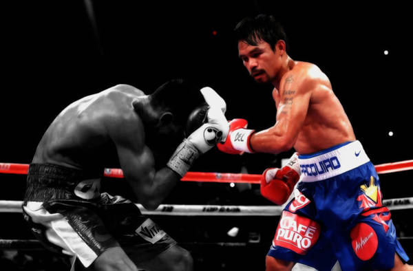 Promotion Mixed Media - Manny Pacquiao And Chris Algieri by Brian Reaves