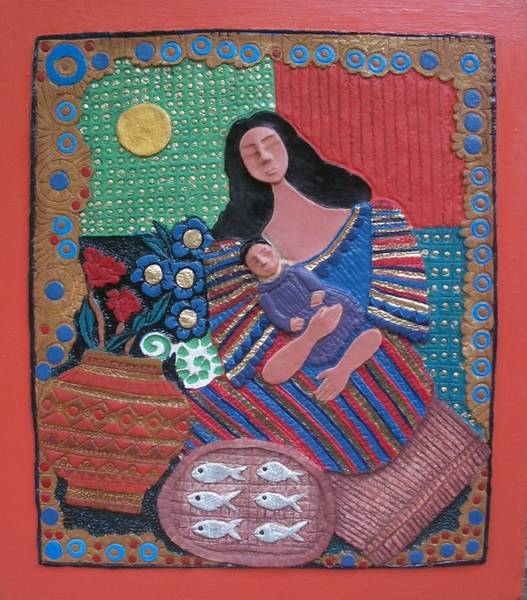 Paper Dress Mixed Media - Manobo Mother And Child Vendor by Otil Rotcod