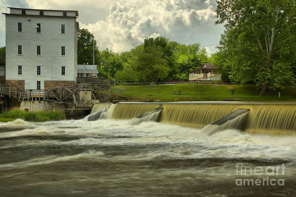 Photograph - Mansfield Grist Mill Spillway by Adam Jewell