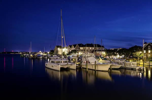 Manteo Waterfront Marina At Night Art Print