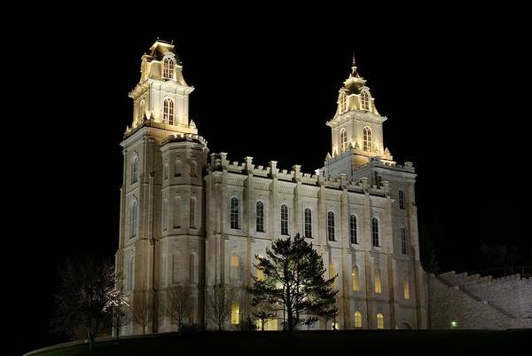 Photograph - Manti Temple Night by David Andersen