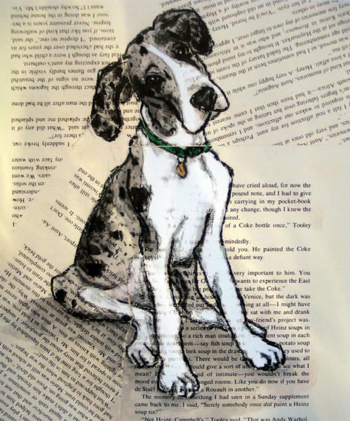 Black Great Dane Painting - Mantle Merle Great Dane Puppy Nora by Christas Designs