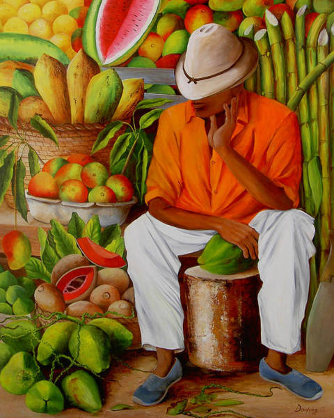 Fruit Stand Wall Art - Painting - Manuel by Dominica Alcantara