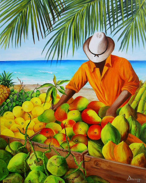 Fruit Stand Wall Art - Painting - Manuel The Fruit Vendor At The Beach by Dominica Alcantara