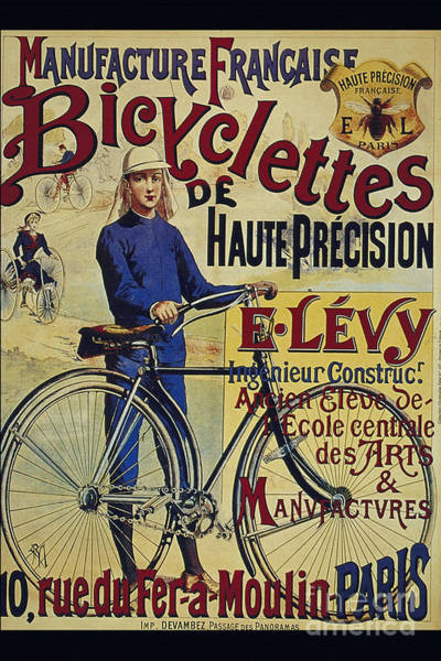 Francaise Digital Art - Manufacture Francaise Bicyclettes De Haute Precision Vintage French Cycle Poster by R Muirhead Art