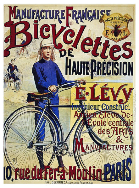 Wall Art - Mixed Media - Manufacture Francaise Bicyclettes - Vintage French Advertising Poster by Studio Grafiikka
