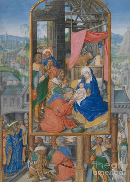 Wall Art - Painting - Manuscript Illumination With Adoration Of The Magi by Netherlandish School