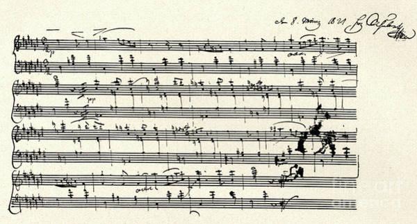 Wall Art - Drawing - Manuscript Score For A Waltz By Franz Schubert by Franz Schubert
