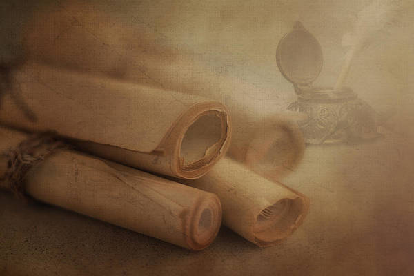 Manuscript Wall Art - Photograph - Manuscript Scrolls Still Life by Tom Mc Nemar