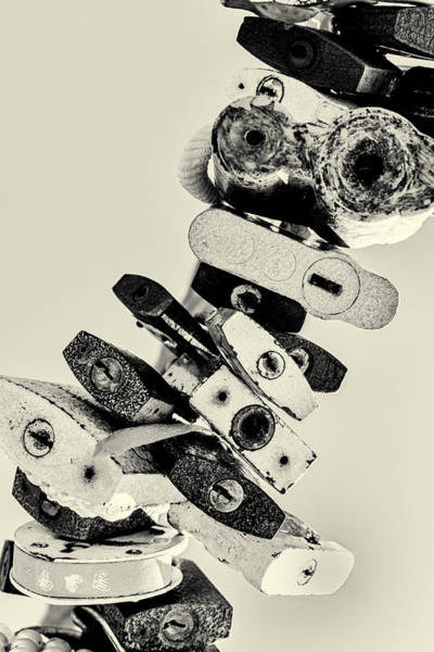 Photograph - Many Metal Padlocks Black And White Abstract Canvas by John Williams