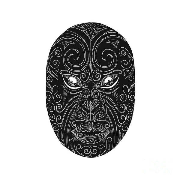 Scratchboard Wall Art - Digital Art - Maori Mask Scratchboard  by Aloysius Patrimonio