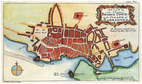 Photograph - Map: Barbados, C1770 by Granger