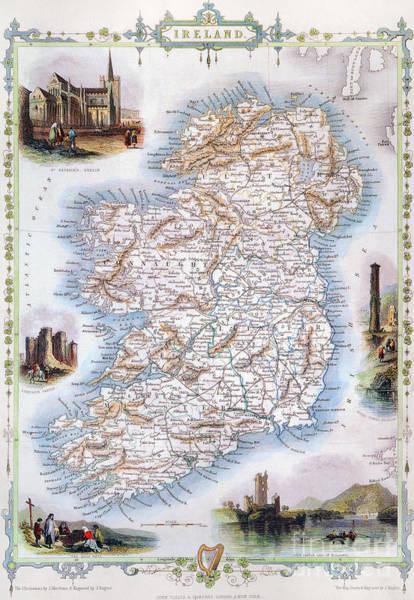 1851 Photograph - Map: Ireland, 1851 by Granger