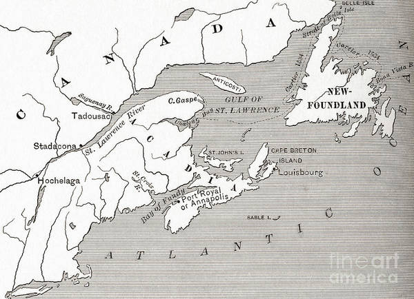 Atlantic Canada Wall Art - Drawing - Map Of Acadia, 17th Century Colony Of New France In Canada by American School