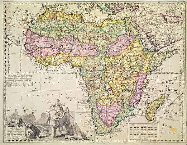 Wall Art - Drawing - Map Of Africa by Pieter Schenk