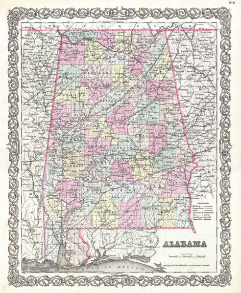 Drawing - Map Of Alabama  by Joseph Hutchins Colton