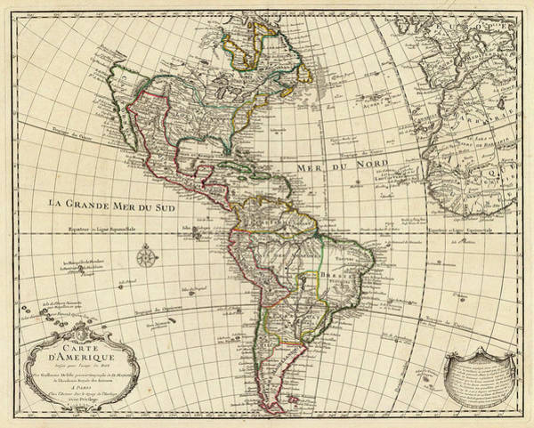Wall Art - Painting - Map Of America by Guillaume Delisle