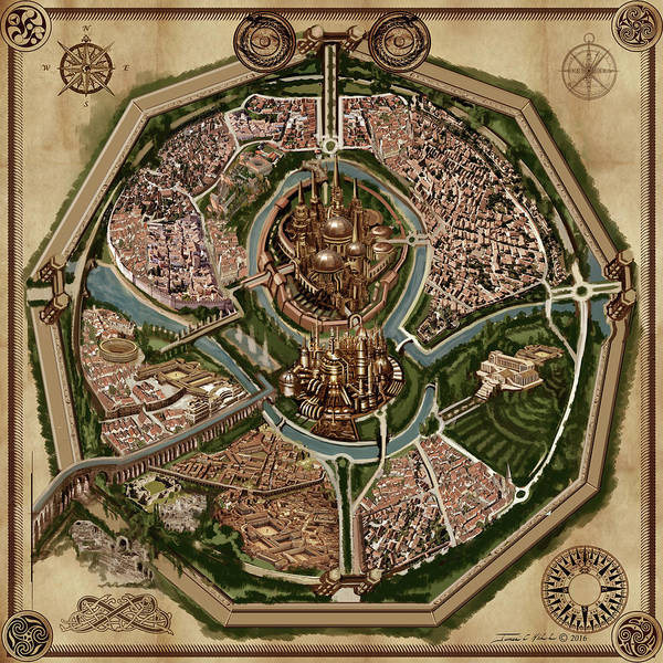Painting - Map Of Ancient City Of Drith by James Christopher Hill
