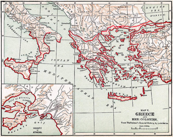 Wall Art - Drawing - Map Of Ancient Greece, C1894 by Granger