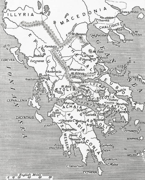 Ancient Drawing - Map Of Ancient Greece by English School