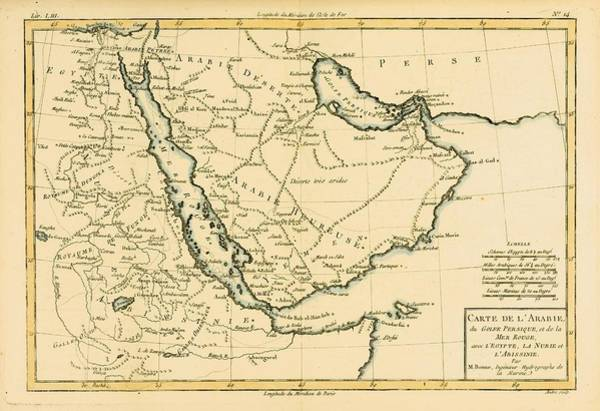 Persian Gulf Drawing - Map Of Arabia, The Persian Gulf And The by Vintage Design Pics