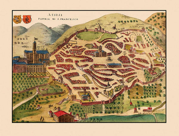 Photograph - Map Of Assissi 1580 by Andrew Fare