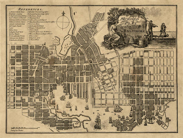Photograph - Map Of Baltimore 1804 by Andrew Fare