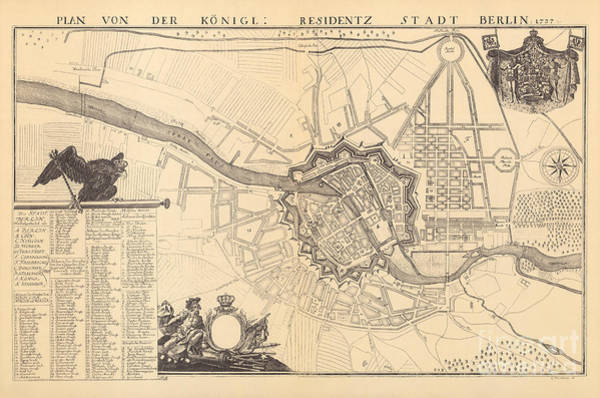 Drawing - Map Of Berlin, 1737 by G Dusableau