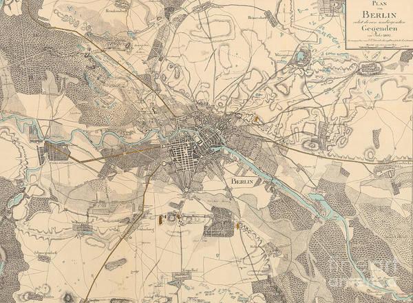 Drawing - Map Of Berlin, 1802 by German School