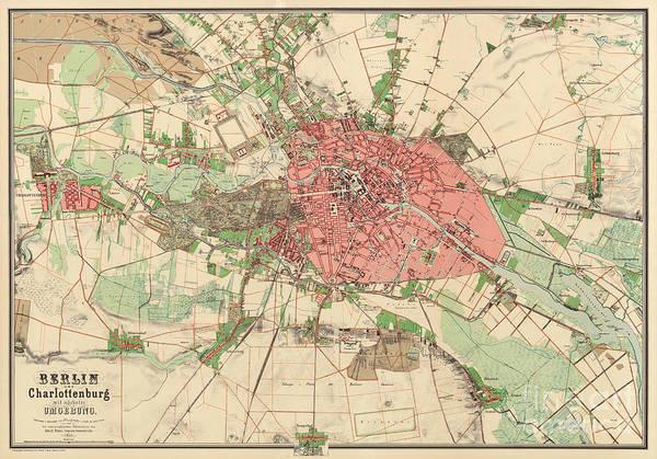 Drawing - Map Of Berlin, 1857 by German School