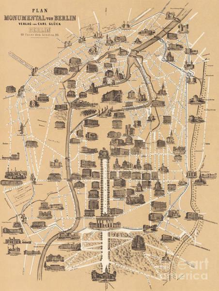 Drawing - Map Of Berlin, 1860 by German School