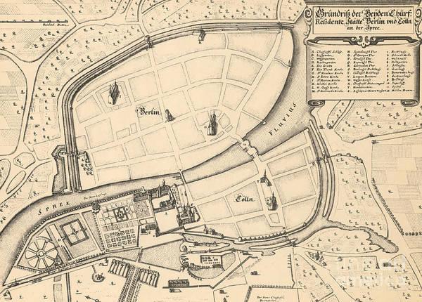 Drawing - Map Of Berlin And Coelln, 1652 by Johann Gregor Memhardt