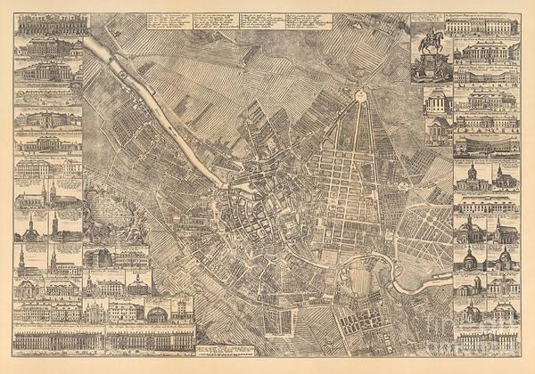 Painting - Map Of Berlin Showing Buildings Of Interest, 1773 by Johann David Schleuen