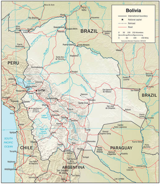 Peru Map Mixed Media - Map Of Bolivia by Roy Pedersen