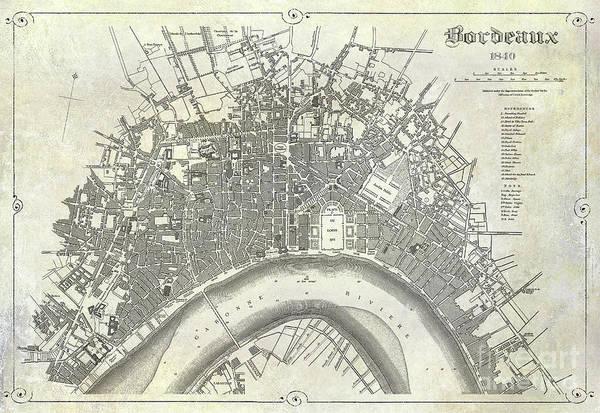 Wall Art - Photograph - Map Of Bordeaux Circa 1840 by Jon Neidert