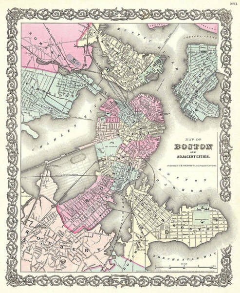 Drawing - Map Of Boston by Joseph Hutchins Colton