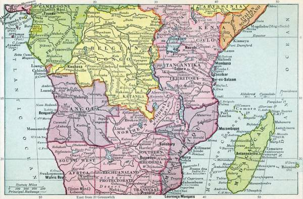 Uganda Drawing - Map Of Central Africa Circa 1930. From by Vintage Design Pics