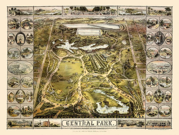 Wall Art - Photograph - Map Of Central Park 1863 by Andrew Fare