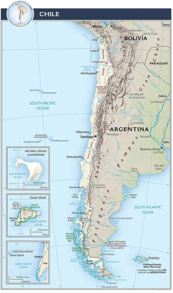 Bolivia Mixed Media - Map Of Chile 2  by Roy Pedersen