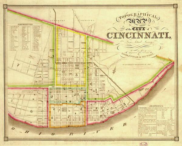 Contour Map Photograph - Map Of Cincinnati 1841 by Mountain Dreams