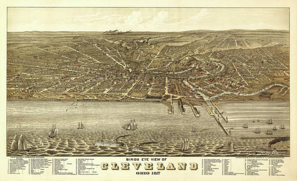 Contour Map Photograph - Map Of Cleveland 1877 by Mountain Dreams