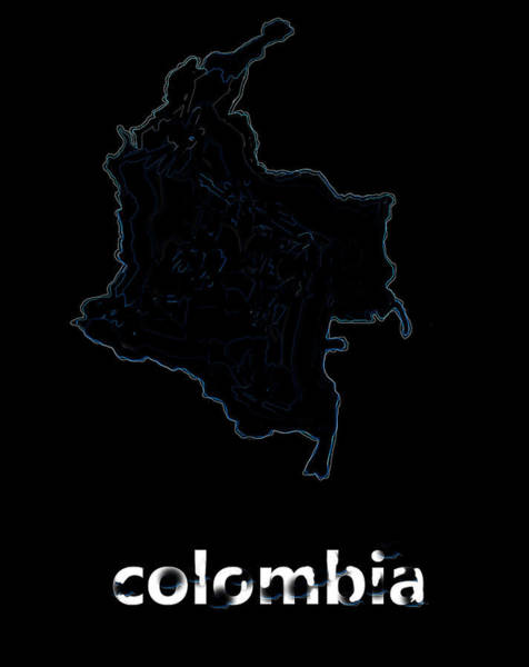 Cartagena Painting - Map Of Colombia by Enki Art